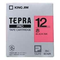 KINGJIM SC12R テプラ PROテープカートリッジ カラーラベル パステル 赤