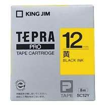 KINGJIM SC12Y テプラ PROテープカートリッジ カラーラベル パステル 黄