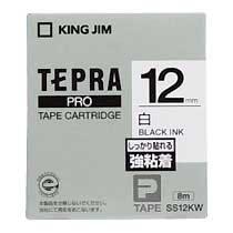 KINGJIM SS12KW テプラ PROテープカートリッジ 強粘着ラベル