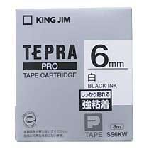 KINGJIM SS6KW テプラ PROテープカートリッジ 強粘着ラベル