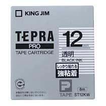 KINGJIM ST12KW テプラ PROテープカートリッジ 強粘着ラベル