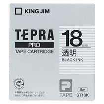 KINGJIM ST18K テプラ PROテープカートリッジ 18mm 透明/黒文字