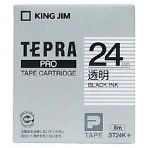 KINGJIM ST24K テプラ PROテープカートリッジ 24mm 透明/黒文字