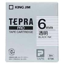 KINGJIM ST6K テプラ PROテープカートリッジ 6mm 透明/黒文字