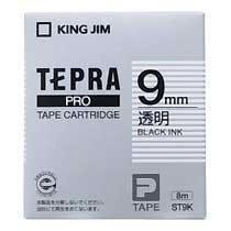KINGJIM ST9K テプラ PROテープカートリッジ 9mm 透明/黒文字