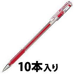 ペンテル EK105-GB ゲルインキボールペン ハイブリッド 0.5mm 赤 1箱=10本