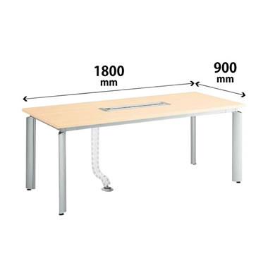 会議テーブル 幅1800×奥行900mm オーク調ナチュラル色 配線ユニット付き