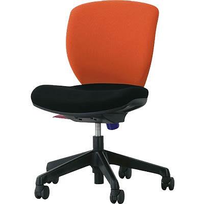 オフィスチェア「シルフィード」布張り 肘無し ローバック シャインオレンジ