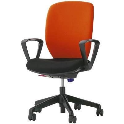 オフィスチェア「シルフィード」布張り 肘付き(サークルアーム) ハイバック シャインオレンジ