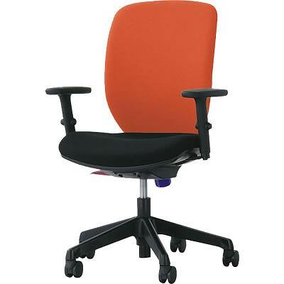 オフィスチェア「シルフィード」布張り 肘付き(フレキシブルアーム) ハイバック シャインオレンジ