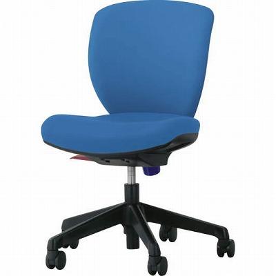 オフィスチェア「シルフィード」レザー張り 肘無し ローバック ブルー