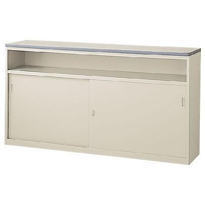 ハイカウンター 中棚付引戸タイプ 本体色:ニューグレー 天板色:ニューグレー
