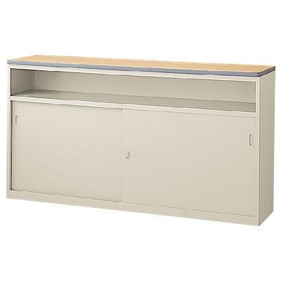 ハイカウンター 中棚付引戸タイプ 本体色:ニューグレー 天板色:ペールアルダー