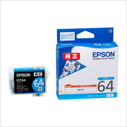 EPSON ICC64 インクカートリッジ シアン 純正