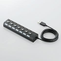 ELECOM U2H-TZS720SBK 個別スイッチ付USBハブ 7ポート