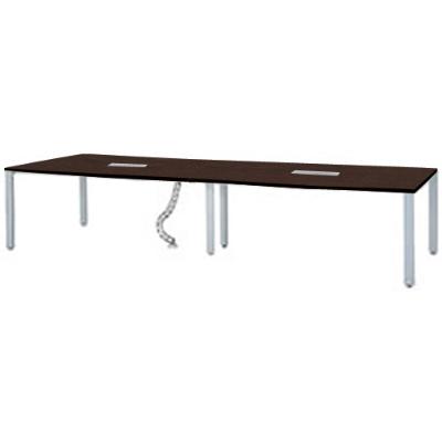 会議用テーブル UTS 幅3600 シルバー脚 ダークブラウン