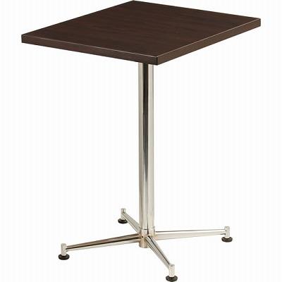 カフェテーブル 脚部:クロームメッキ 天板:ブラウン