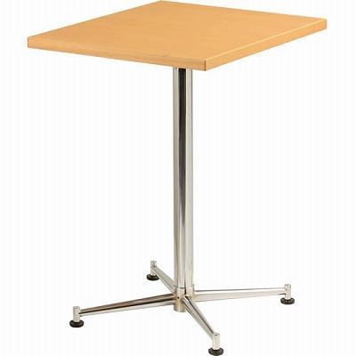 カフェテーブル 脚部:クロームメッキ 天板:ナチュラル