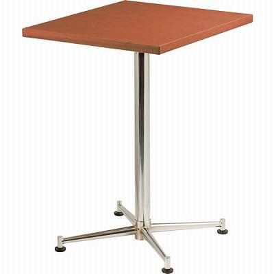 カフェテーブル 脚部:クロームメッキ 天板:ハニーブラウン