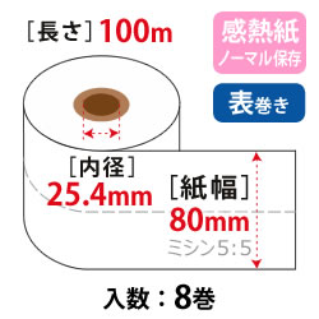 券売機ロール W60mm×100m×25.4 白 105μ 5:5 ノーマル