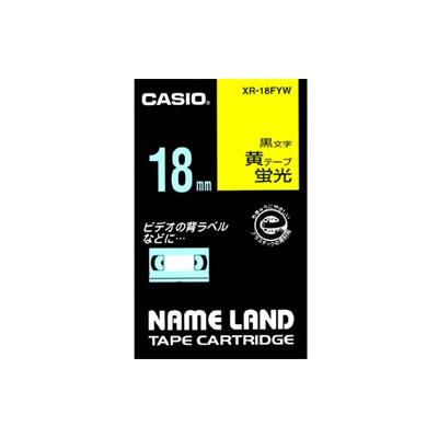 CASIO XR-18FYW 蛍光色テープ 18mm 蛍光黄 黒文字