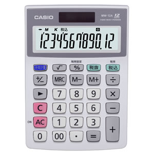 CASIO MW-12A-N 12桁ミニジャストサイズ電卓
