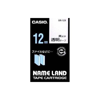 CASIO XR-12X スタンダードテープ 12mm 透明 黒文字