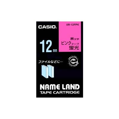 CASIO XR-12FPK 蛍光色テープ 12mm 蛍光ピンク 黒文字