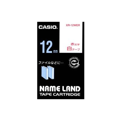 CASIO XR-12WER スタンダードテープ 12mm 白 赤文字
