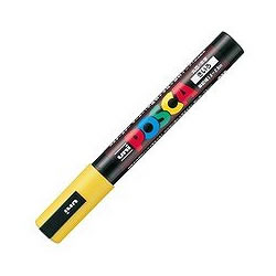 三菱鉛筆 PC5M.2 水性サインペン ポスカ 中字・丸芯 黄