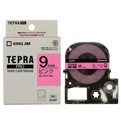 KINGJIM SC9P テプラPRO テープカートリッジ パステル 9mm ピンク/黒文字