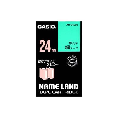 CASIO XR-24GN スタンダードテープ 24mm 緑 黒文字
