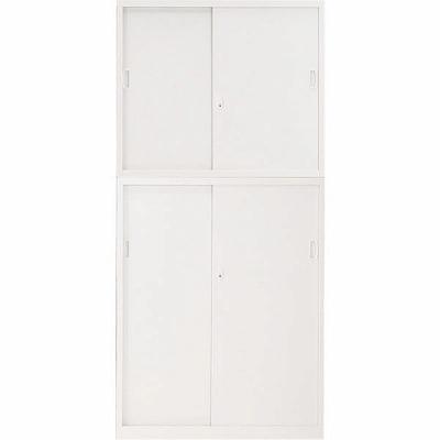 スチール引戸書庫+スチール引戸書庫セット ホワイト 幅880×奥行380×高さ1860mm