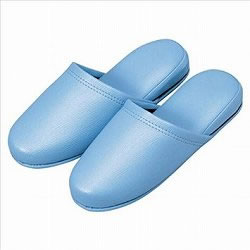 オーミケンシ 36048 抗菌ビニールレザー調スリッパ ブルー 10足セット