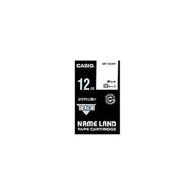 CASIO XR-12GWE 強粘着テープ 12mm 白 黒文字