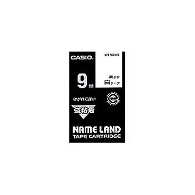 CASIO XR-9GWE 強粘着テープ 9mm 白 黒文字