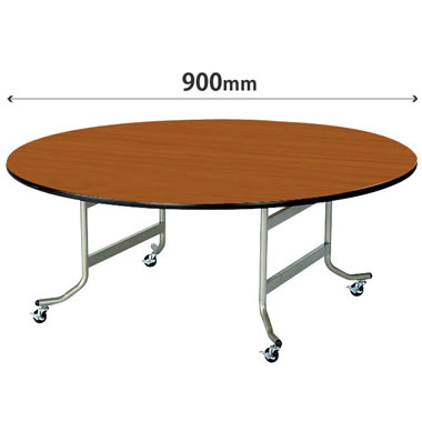 丸型フライトテーブル 直径900mm ソフトエッジ巻 チーク