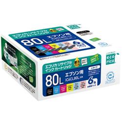 エコリカ ECI-E80L-6P リサイクルインク 6色パック