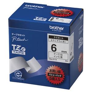 BROTHER TZE-211V TZeテープ ラミネートテープ 6mm 白/黒文字