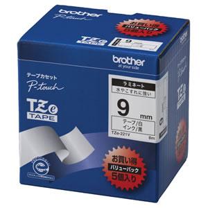 ブラザー TZE-221V ピータッチ TZeテープ ラミネートテープ 9mm 白/黒文字 業務用パック