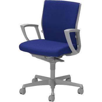オフィスチェア「エスクード」 ローバック デザインアーム付 ダークブルー