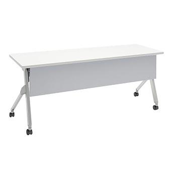 平行スタックテーブル 幅1800×奥行600mm 棚板付 幕板付 ホワイト