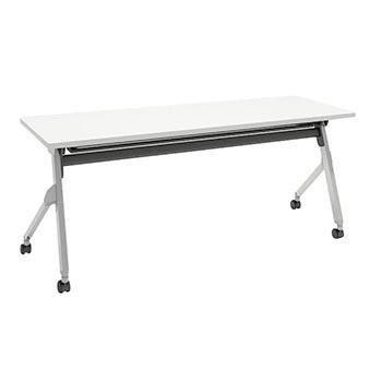 平行スタックテーブル 幅1800×奥行600mm 棚板付 幕板なし ホワイト