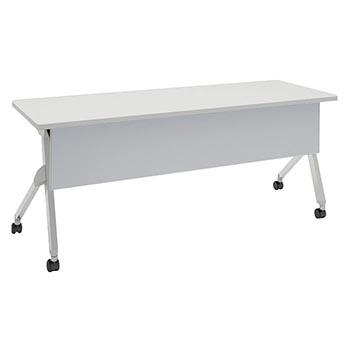 平行スタックテーブル 幅1800×奥行600mm 棚板なし 幕板付 ホワイト
