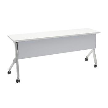 オカムラ 平行スタックテーブル 幅1800×奥行450mm 棚板付 幕板付 ホワイト
