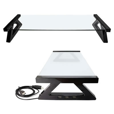 3E OF3E-WEDESKST-BK ガラス製デスクトップスタンド