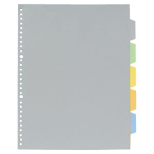 KINGJIM 7907P 透明ポケット用カラーインデックス(多穴) A4タテ 2・30穴 5色5山