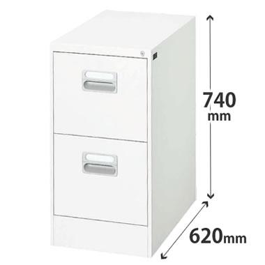 2段 A4 ホワイト ダイシンファイリングキャビネット 幅387×奥行620×高さ740mm