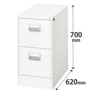2段 A4 ホワイト ダイシンファイリングキャビネット 幅387×奥行620×高さ700mm