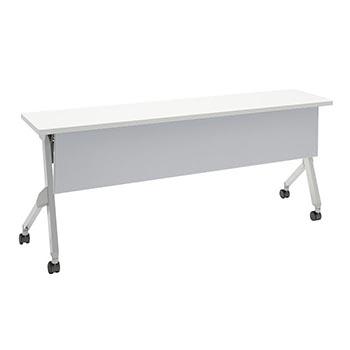 平行スタックテーブル 幅1800×奥行400mm 棚板付 幕板付 ホワイト
